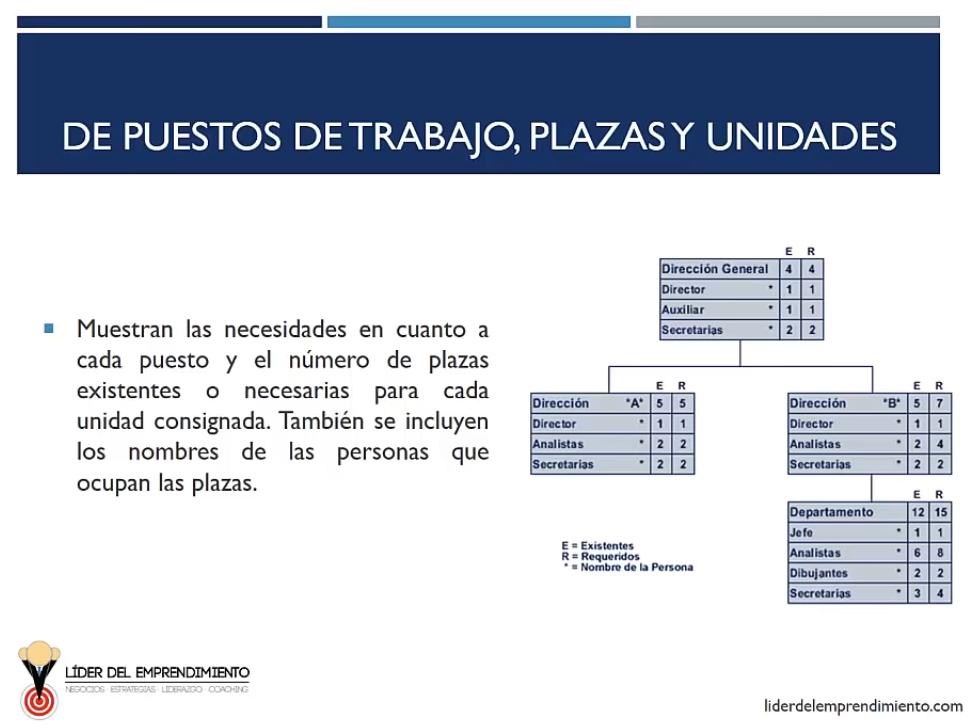 Organigramas de puestos de trabajo, plazas y unidades
