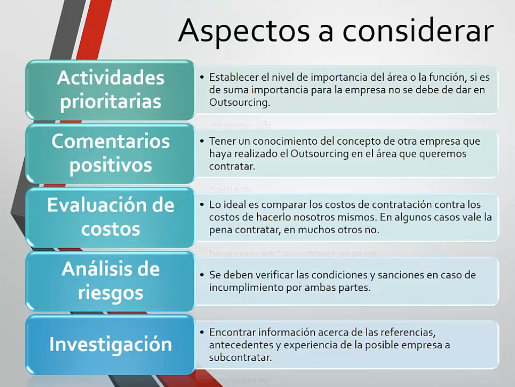 Aspectos a considerar en el outsourcing