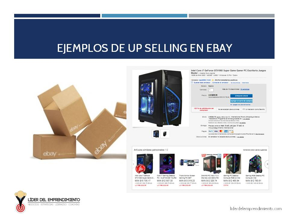 Ejemplo de Up Selling en eBay